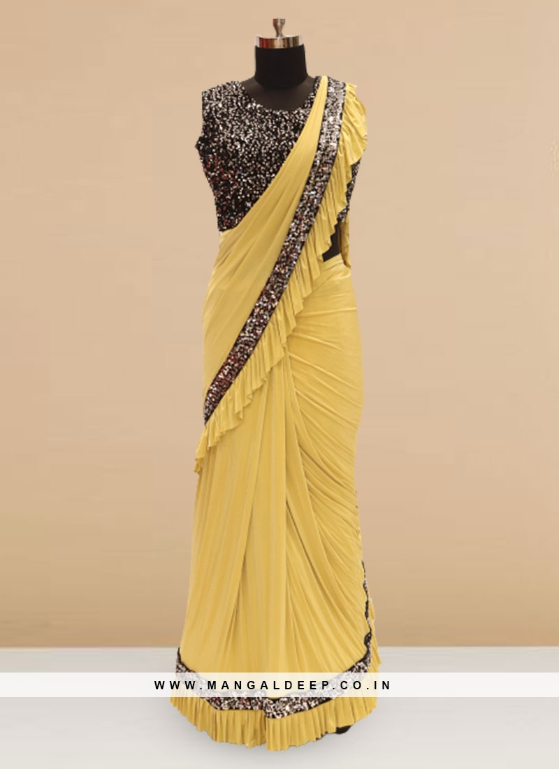 Charming Yellow Color Sangeet Function Wear Saree