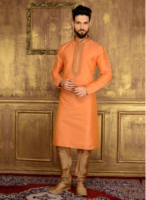Cheerful Orange Colour Churidar Kurta Pajama
