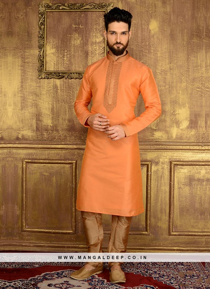 Cheerful Orange Colour Churidar Kurta Pajama