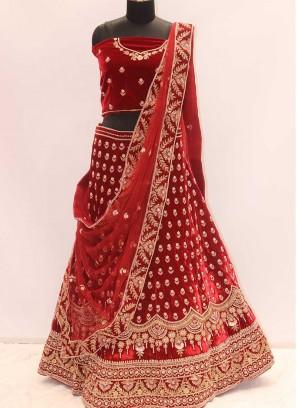 Cherry Color Silk Cut Dana Work Lehenga