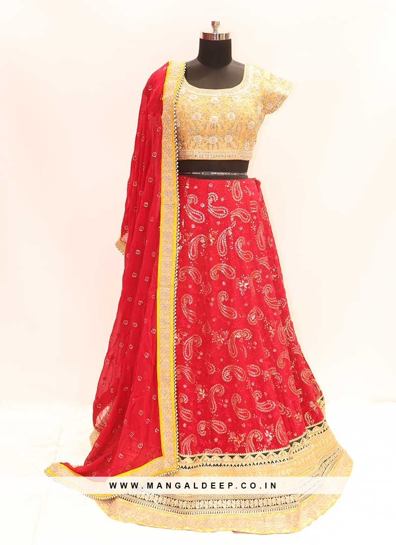 Cherry Red Color Georgette Party Wear Lehenga