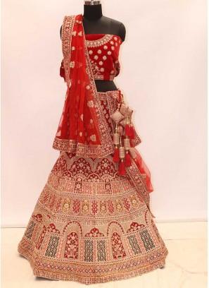 Cherry Red Color Velvet Lehenga For Bride