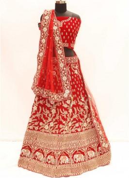 Cherry Red Color Velvet Sequins Work Lehenga
