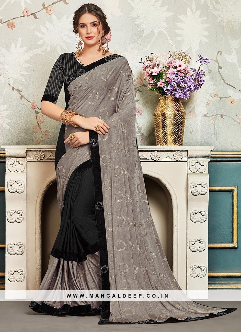 Chiffon Festive Wear Embroidered Saree In Multi Color