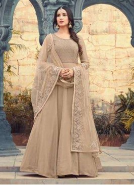 Classic Beige Color Party Wear Designer Suit