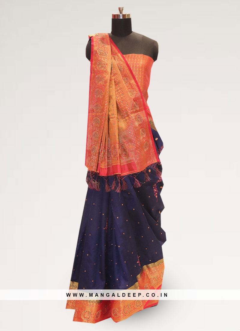 Classic Blue Color Festive Wear Designer Saree