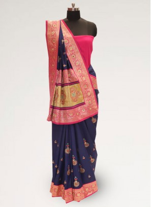 Classic Blue Color Festive Wear Designer Saree