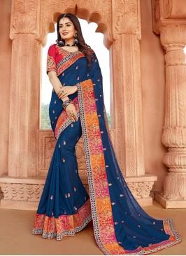 Classic Blue Color Silk Saree For Girls