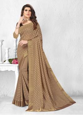 Classic Brown Color Silk Saree