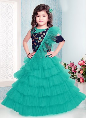 Classic Green Color Choli Suit For Kids