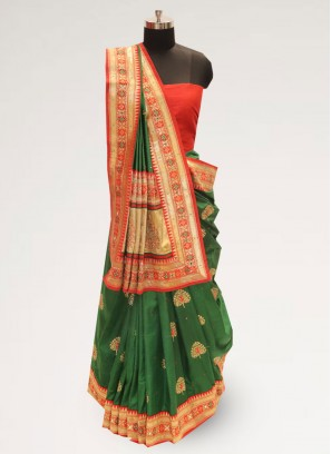 Classic Green Color Festive Wear Designer Saree