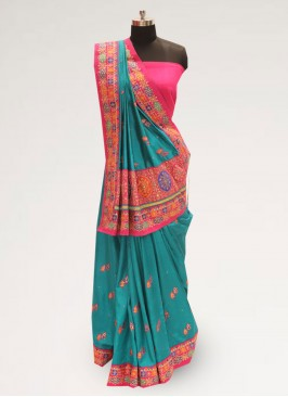 Classic Green Color Festive Wear Designer Saree
