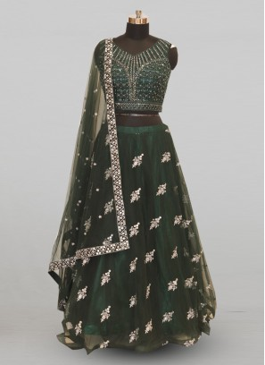 Classic Green Color Function Wear Designer Lehenga Choli