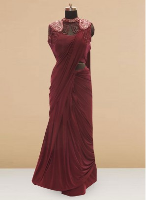 Classic Maroon  Color Party Wear Saree