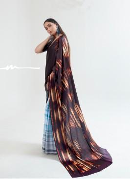 Classic Multi Color Satin Saree