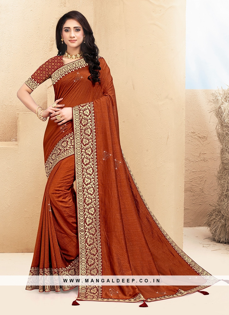 Classic Orange Color Function Wear Saree