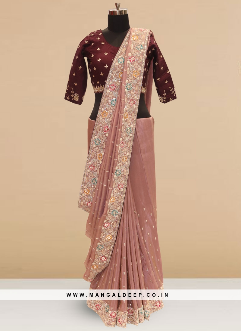 Classic Peach Color Function Wear Saree