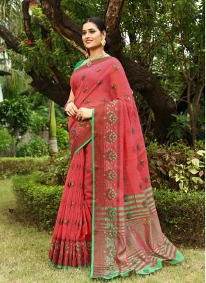Classic Pink Color Linen Saree