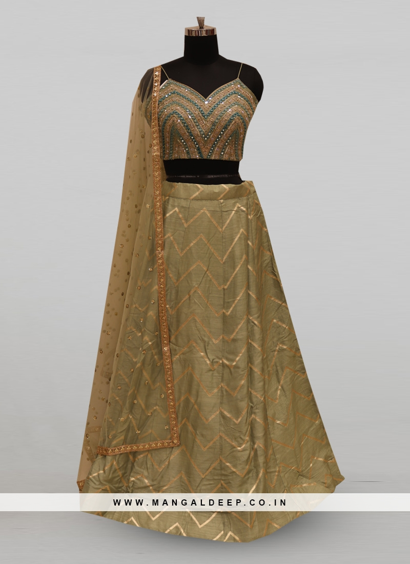 Classic Pista Color Function Wear Designer Lehenga Choli
