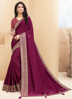 Classic Purple Color Function Wear Saree