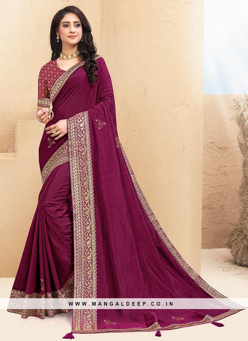 Classic Purple Color Function Wear Saree