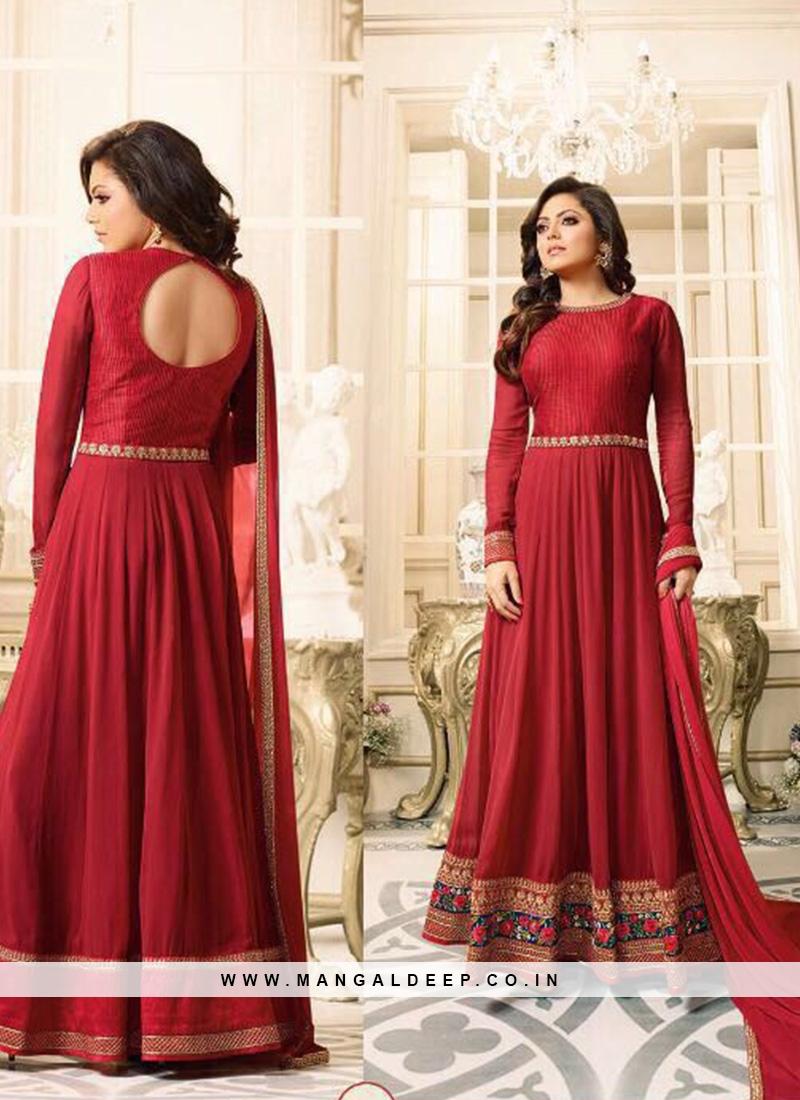 Classic Red Color Party Wear Designer Suit