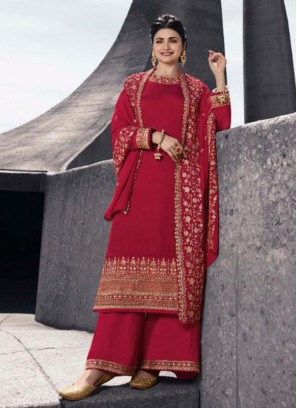 Classic Red Color Party Wear Designer Suit