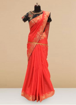 Classic Red  Color Party Wear Saree