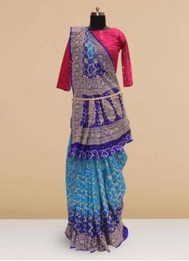 Classic Sky Blue Color Function Wear Saree