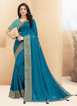 Classic Teal Color Function Wear Saree