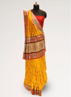 Classic Yellow Color Festive Wear Designer Saree