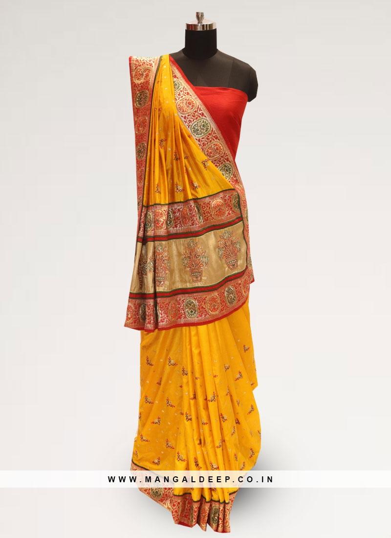Classic Yellow Color Festive Wear Designer Saree