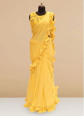 Classic Yellow  Color Party Wear Saree