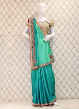 Classy Blue Shaded Handwork Silk Designer Saree