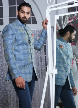 Contemporary Blue Jodhpuri Suit