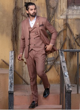 Contemporary Brown Buttoned Suit Set