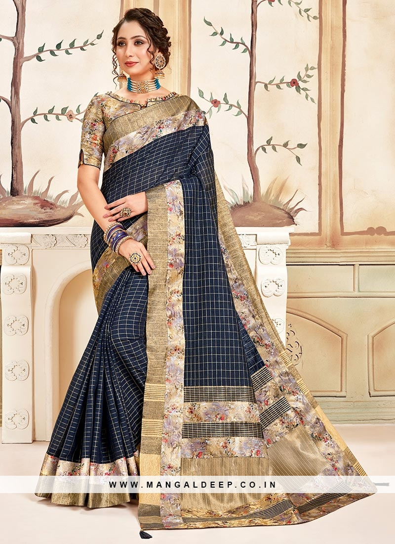 Cotton Festive Wear Saree In Blue Color