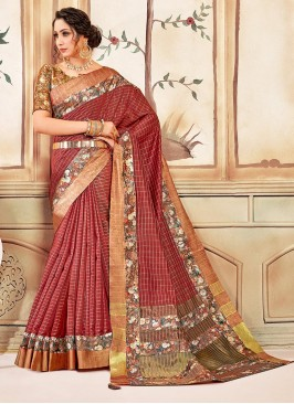 Cotton Festive Wear Saree In Multi Color