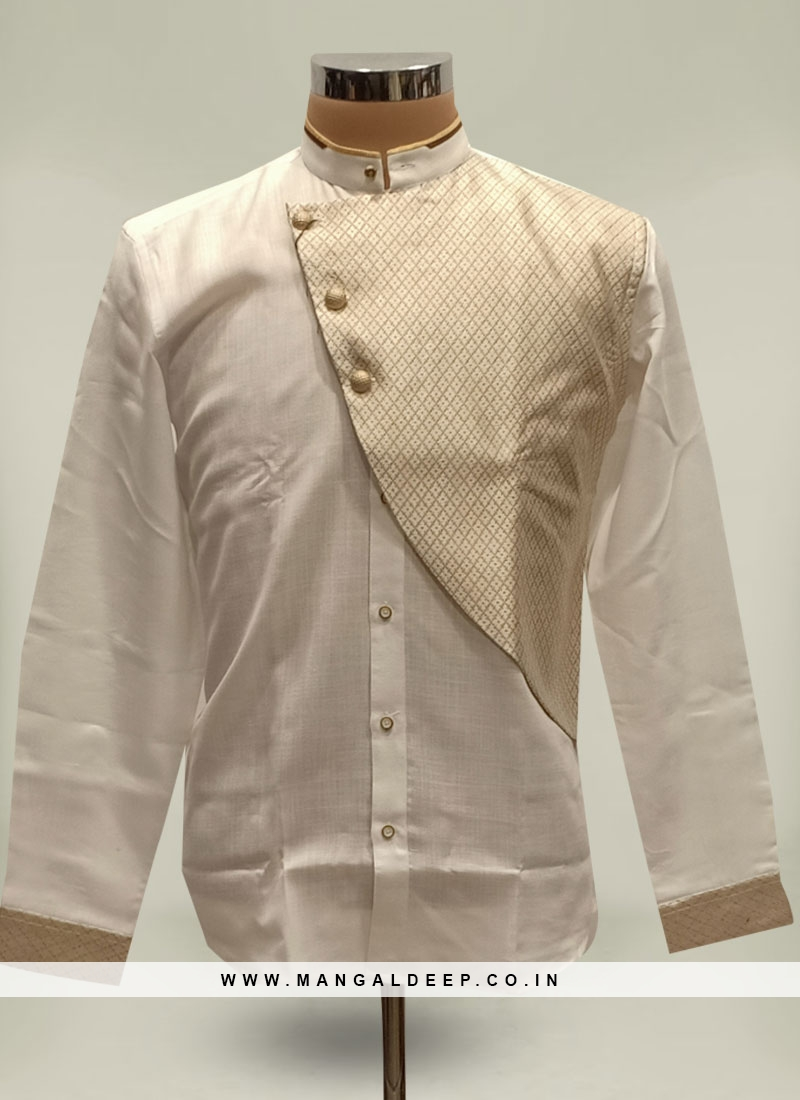 Cotton Silk White Color Short Kurta
