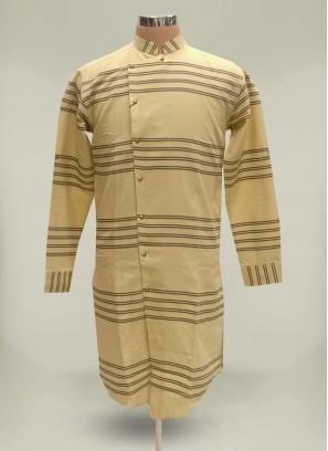 Cotton Textured Line Cream Kurta