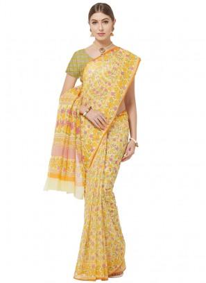 Cotton Yellow Color Printed Saree