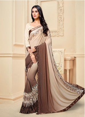 Cream And Brown Color Ruffle Saree
