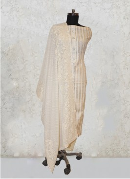 Cream Chanderi Silk Gotta Pati Work Salwar Kameez