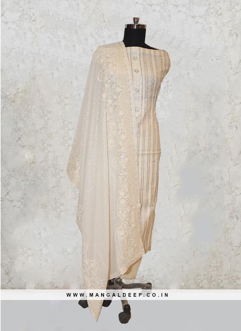 Cream Chanderi Silk Gotta Pati Work Salwar Kameez