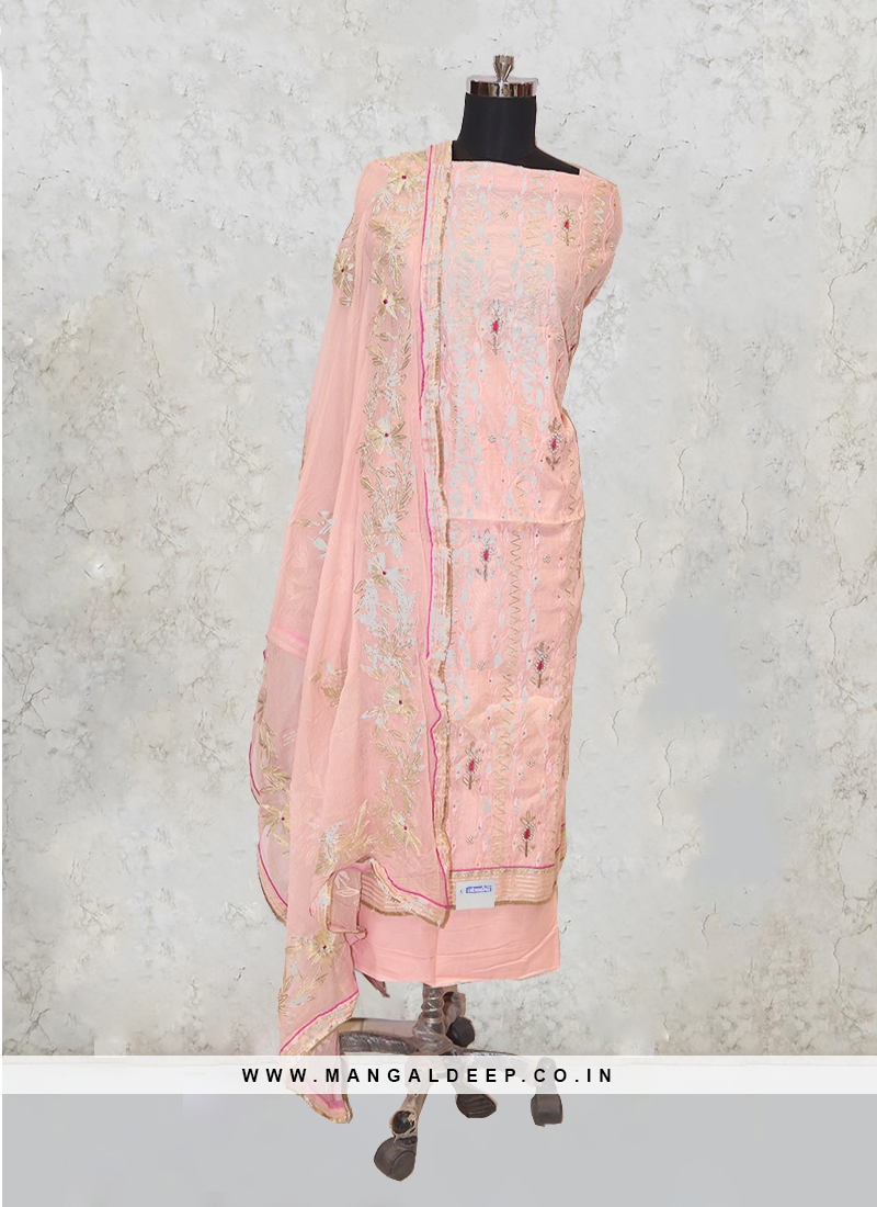 Cream Chanderi Silk Sequins Work Salwar Kameez