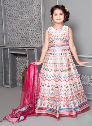Cream Color Art Silk Stone Work Little Girl Lehenga