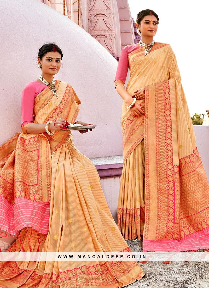 Cream Color Banarasi Silk Party Wear Saree