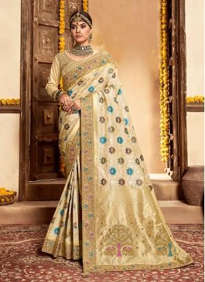 Cream Color Banarasi Silk Saree
