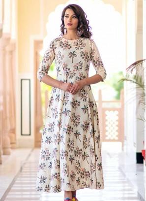 Cream Color Digital Print Gown