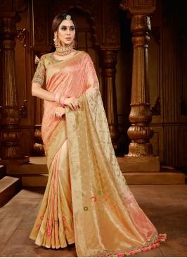 Cream Color Dola Silk Bridal Saree